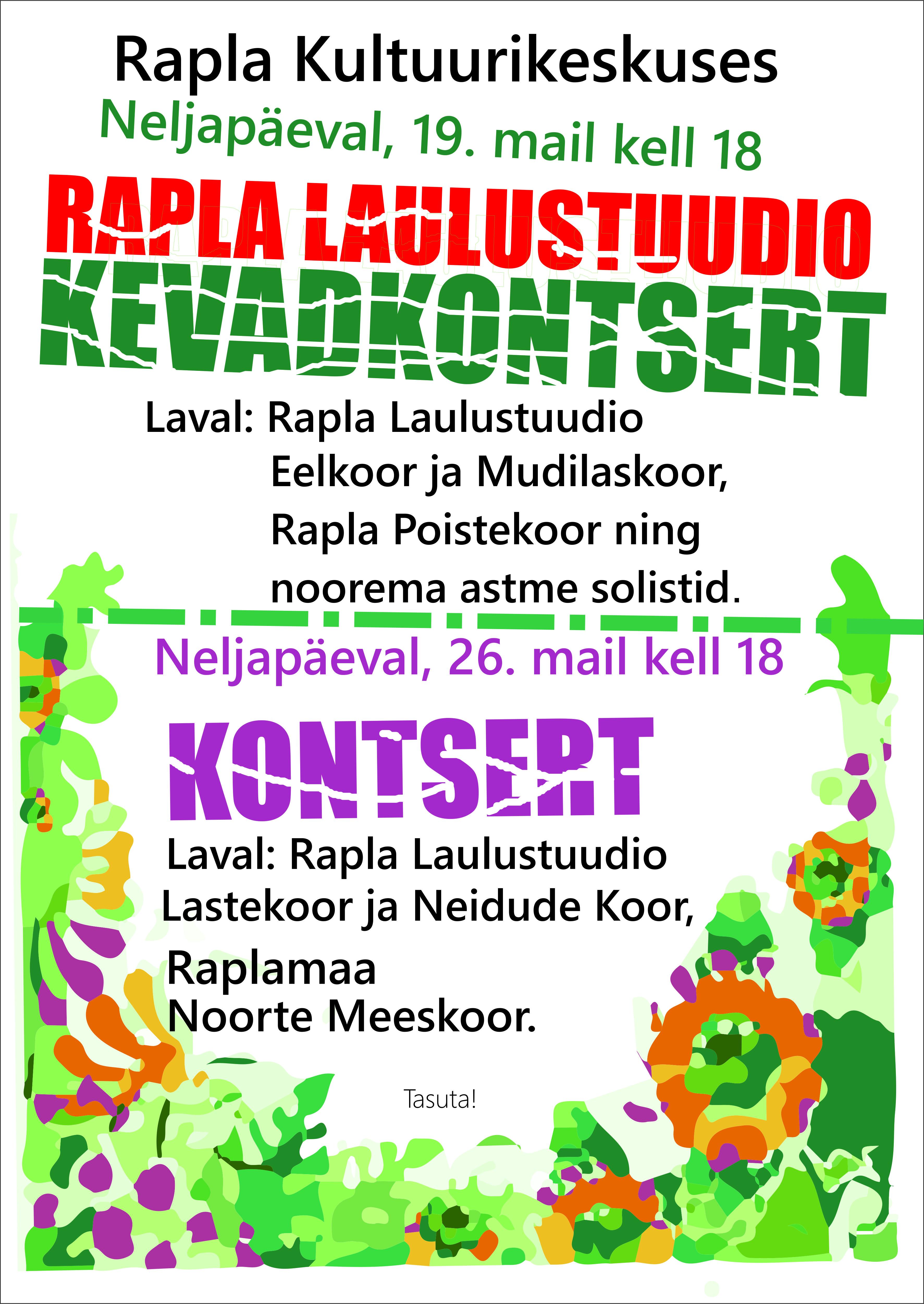 2f851728364 Rapla Laulustuudio kontsert – RAPLA KULTUURIKESKUS