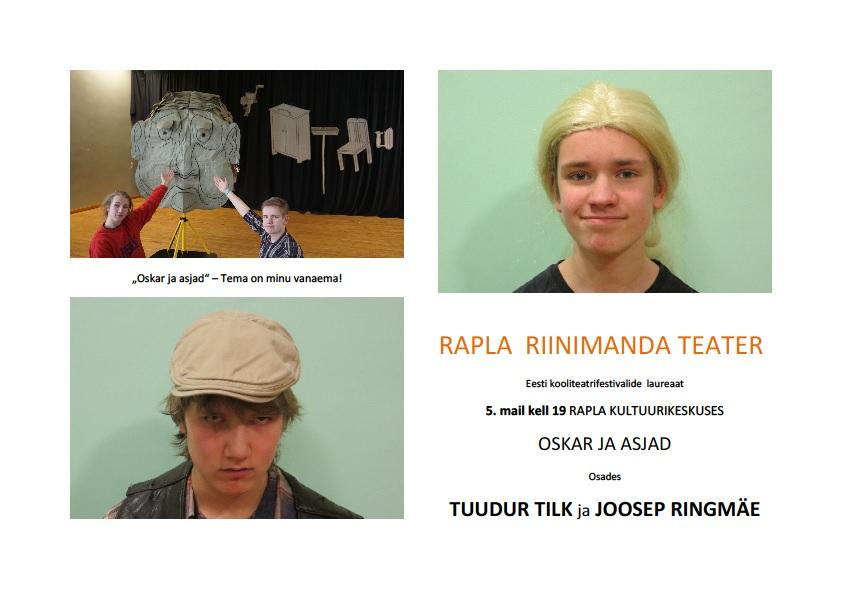 """Rapla Riinimanda Teatri etendus """"Oskar ja asjad"""""""