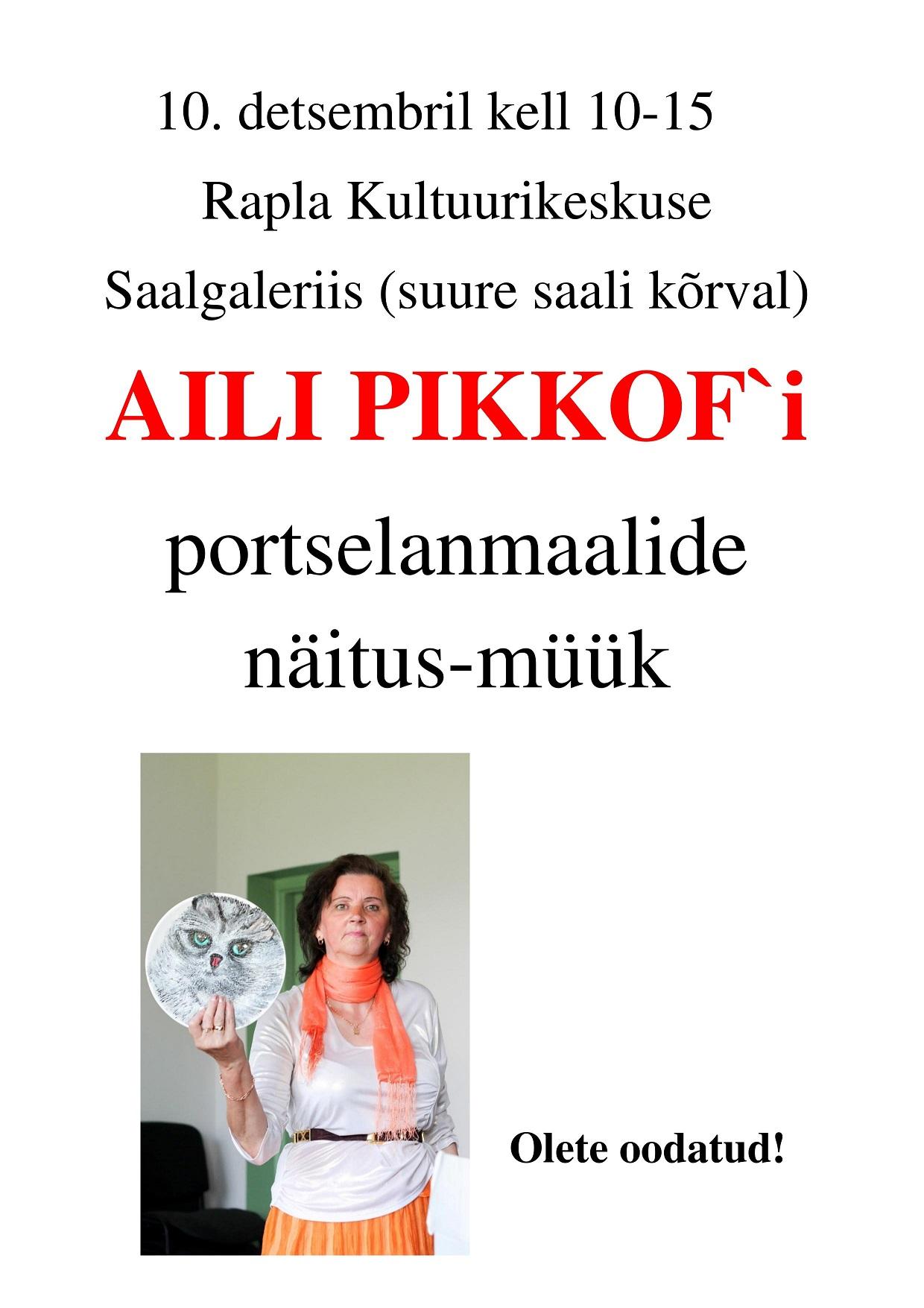 Aili Pikkof`i portselanmaalide näitus-müük