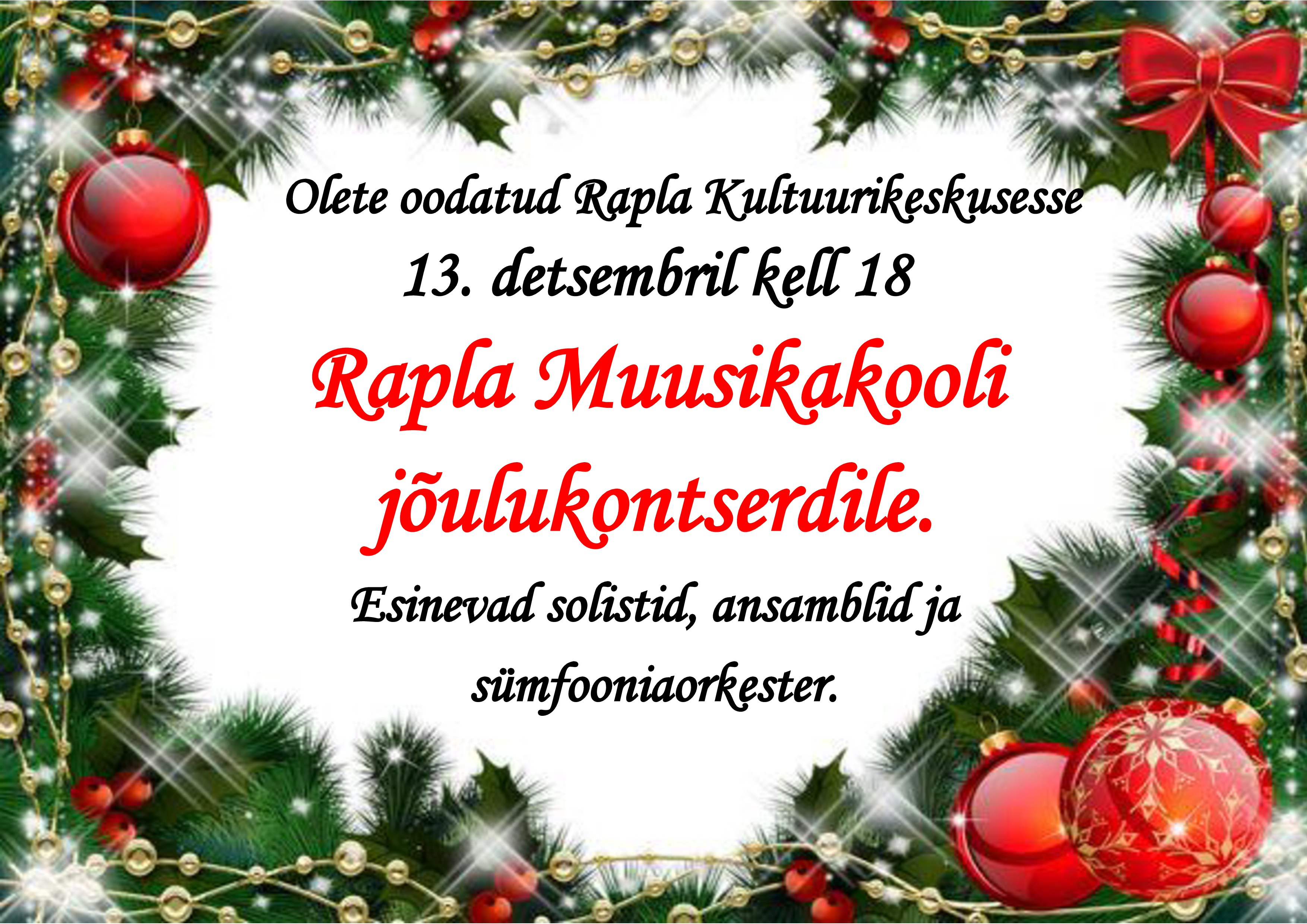 Rapla Muusikakooli jõulukontsert