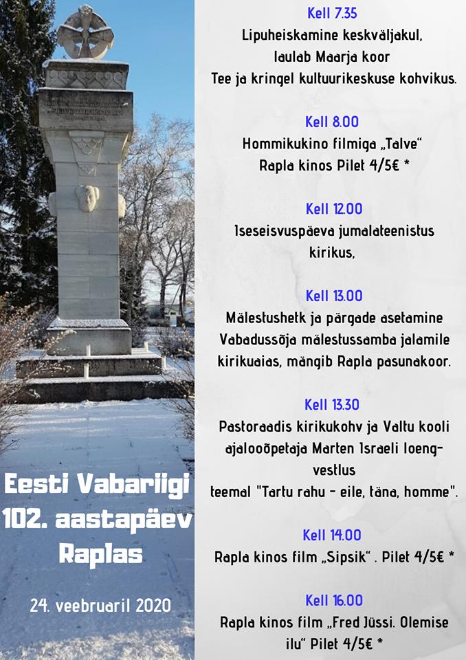 Eesti Vabariigi 102. aastapäev Raplas