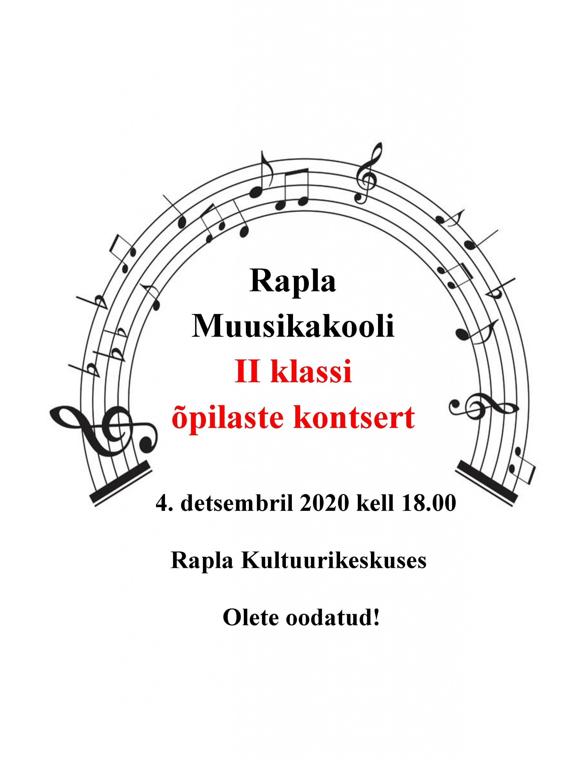 Rapla Muusikakooli II klassi õpilaste kontsert